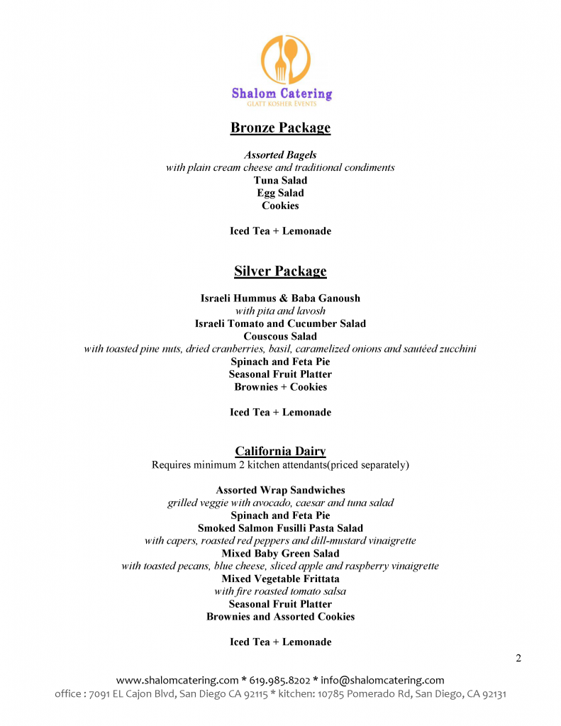 Kiddush Luncheon Menus - Click for machine accessible format